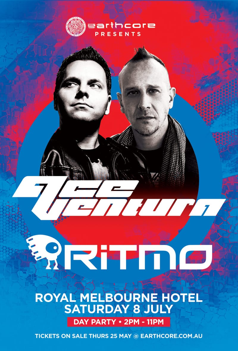 Press flyer image EARTHCORE PRESENTS - ACE VENTURA x RITMO DAY PARTY - SATURDAY 8 JULY, 2017