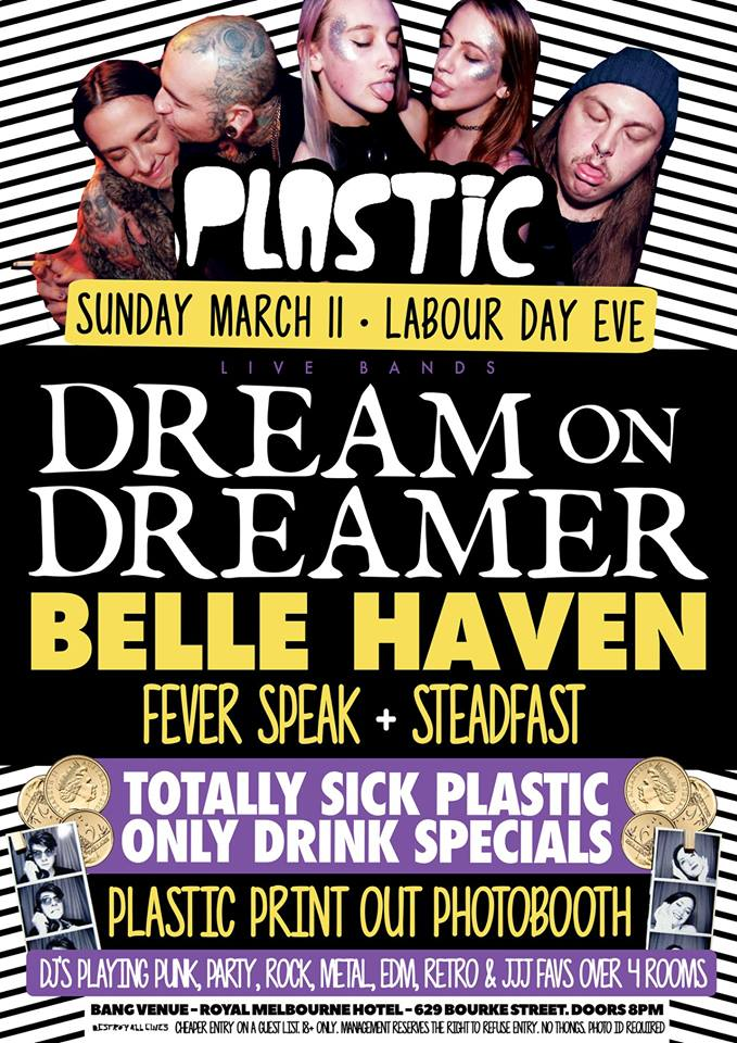 Press flyer image PLASTIC PRESENTS - DREAM ON DREAMER - SUNDAY 11 MARCH, 2018