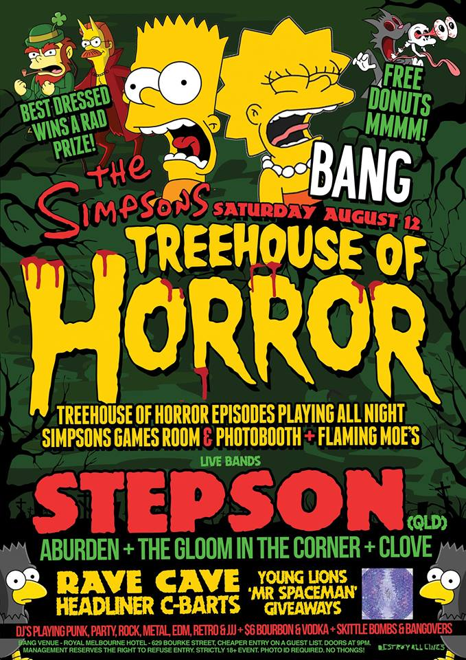 Press flyer image BANG PRESENTS - TREEHOUSE OF HORRORS - SATURDAY 12 AUGUST, 2017