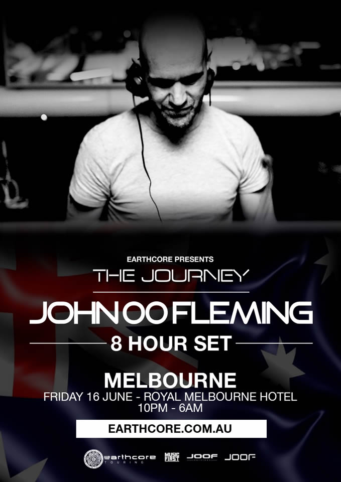 Press flyer image EARTHCORE PRESENTS - JOHN 00 FLEMING - THE JOURNEY - FRIDAY 16 JUNE, 2017
