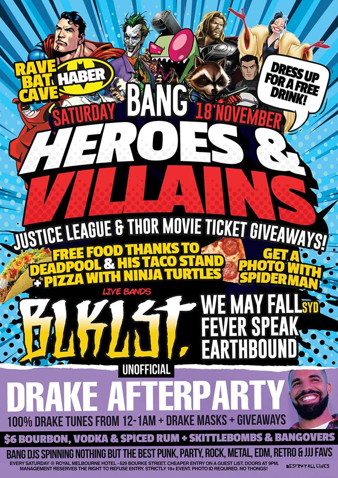 Press flyer image BANG PRESENTS - HEROES & VILLAINS PARTY - SATURDAY 18 NOVEMBER, 2017