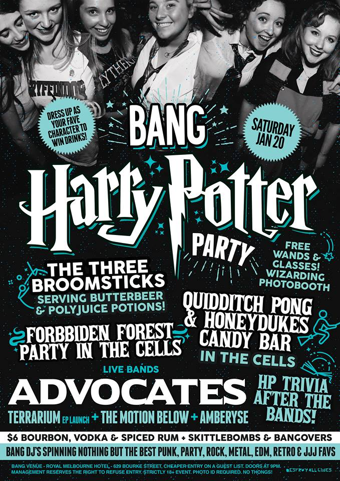 Press flyer image BANG PRESENTS - HARRY POTTER PARTY - SATURDAY 20 JANUARY, 2018