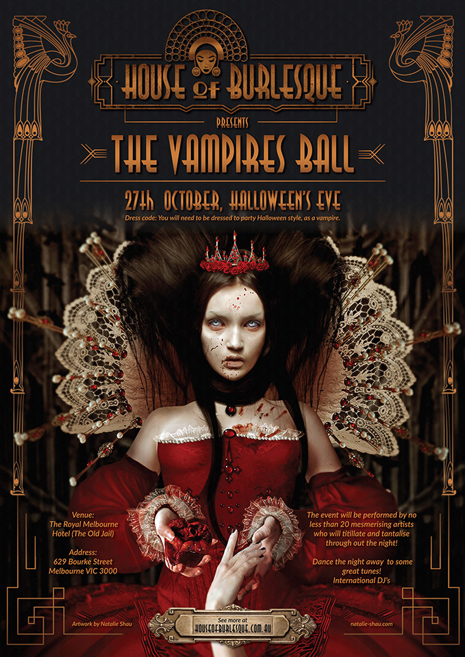 Press flyer image HOUSE OF BURLESQUE PRESENTS - THE VAMPIRES BALL - FRIDAY 27 OCTOBER, 2017