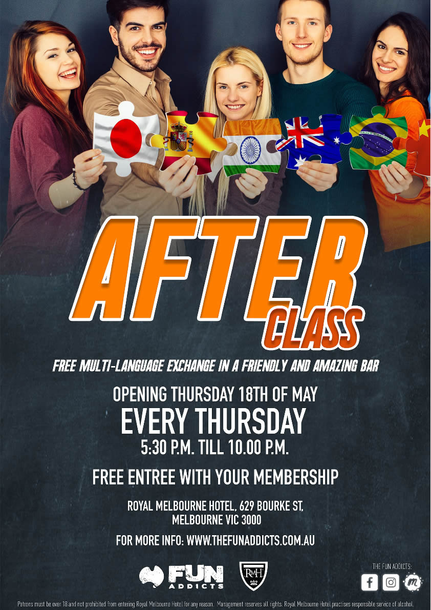 Press flyer image FUN ADDICTS PRESENT - AFTER CLASS - EVERY THURSDAY (STARTING 18 MAY)